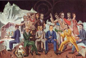 1er rang de gauche à droite: Ernst, Fraenkel, Paulhan, Péret, Baargeld, Desnos 2e rang : Crevel (au piano), Soupault, Arp, Morise, Eluard, Aragon, Breton, De Chirico, Gala .© Wallraf Richartz Museum Cologne )